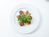 Tasmanian Scallops with Chorizo, Lemon Thyme Crumb, Apple & Herb Salad