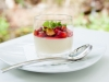 White Chocolate Pannacotta with Strawberry, Strawberry Gel, Honeycomb