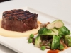 Char-Grilled Eye Fillet with Potato Mousseline, Brussels, Peas and Echalots, Jus
