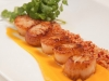 Seared Scallops with Pumpkin Puree, Pancetta and Watercress