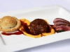 Trio of Lamb, Pithivier, Braised Shoulder & Back Strap. With Carrot Puree & Spinach
